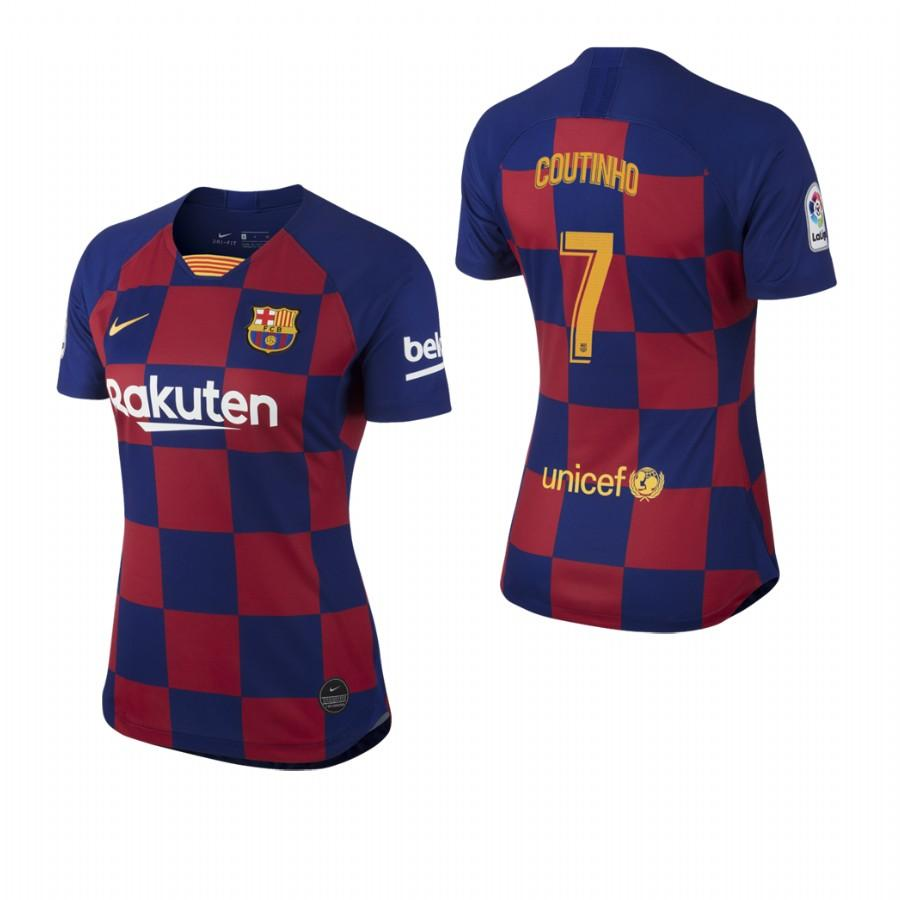 2019/20 Philippe Coutinho no. 7 Barcelona Womens Checkered New Home Jersey/Shirt - S - Jersey