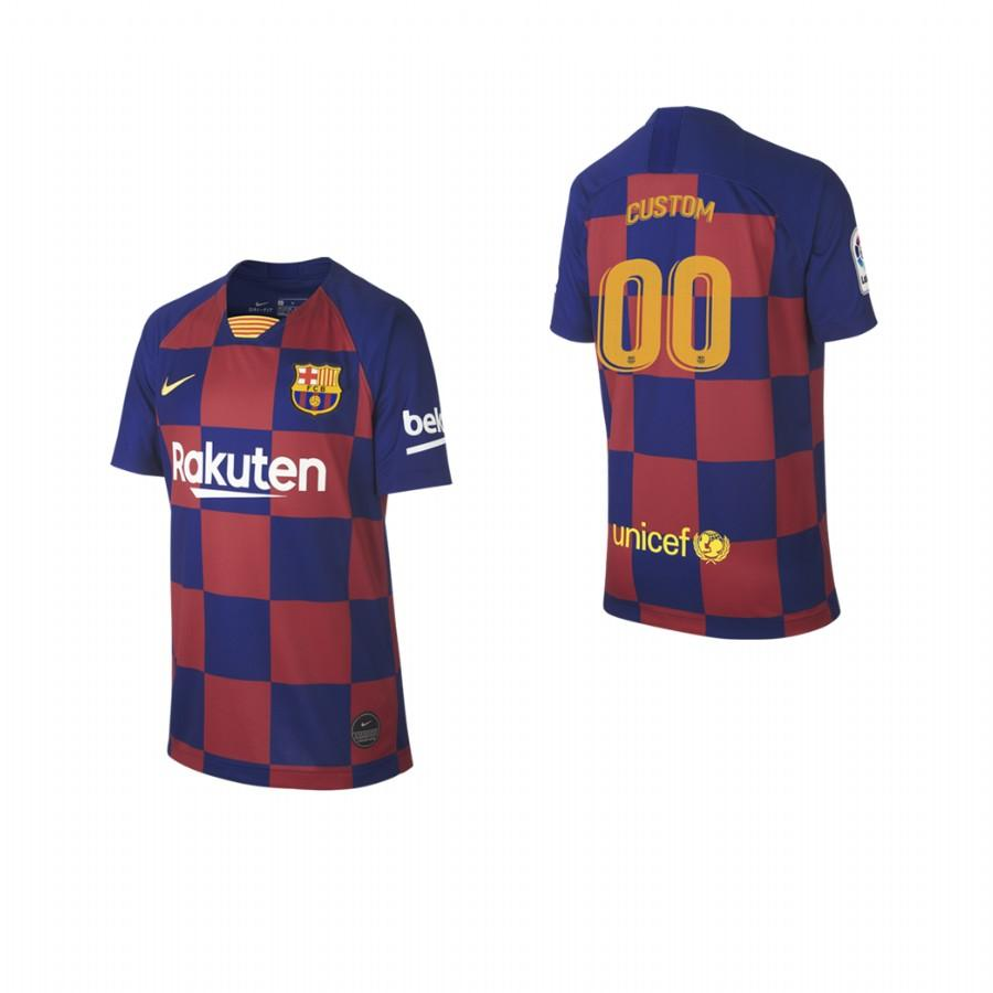 2019/20 Youth Barcelona Custom Name & Number Checkered New Home Jersey/Shirt - S - Jersey