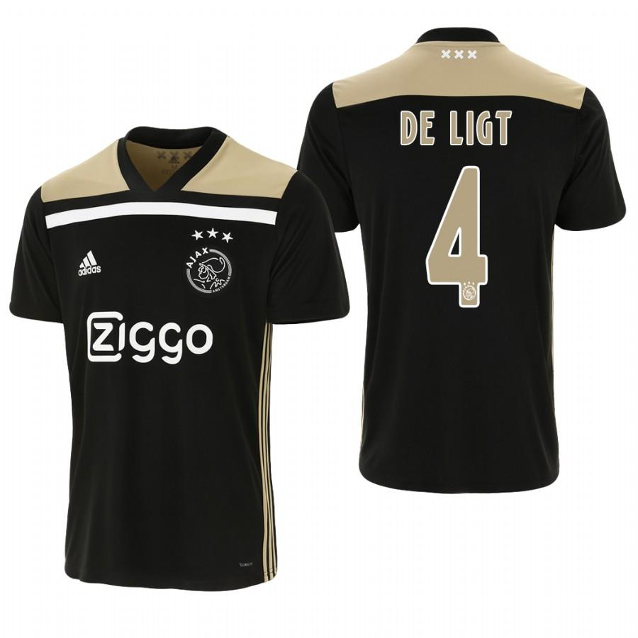Ajax 18-19 Black Matthijs de Ligt #4 Away Mens Jersey - S