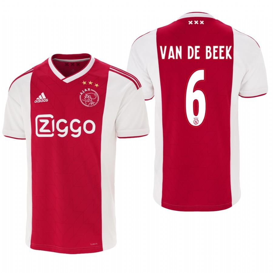 Ajax 18-19 Red White Donny van de Beek #6 Home Mens Jersey - S