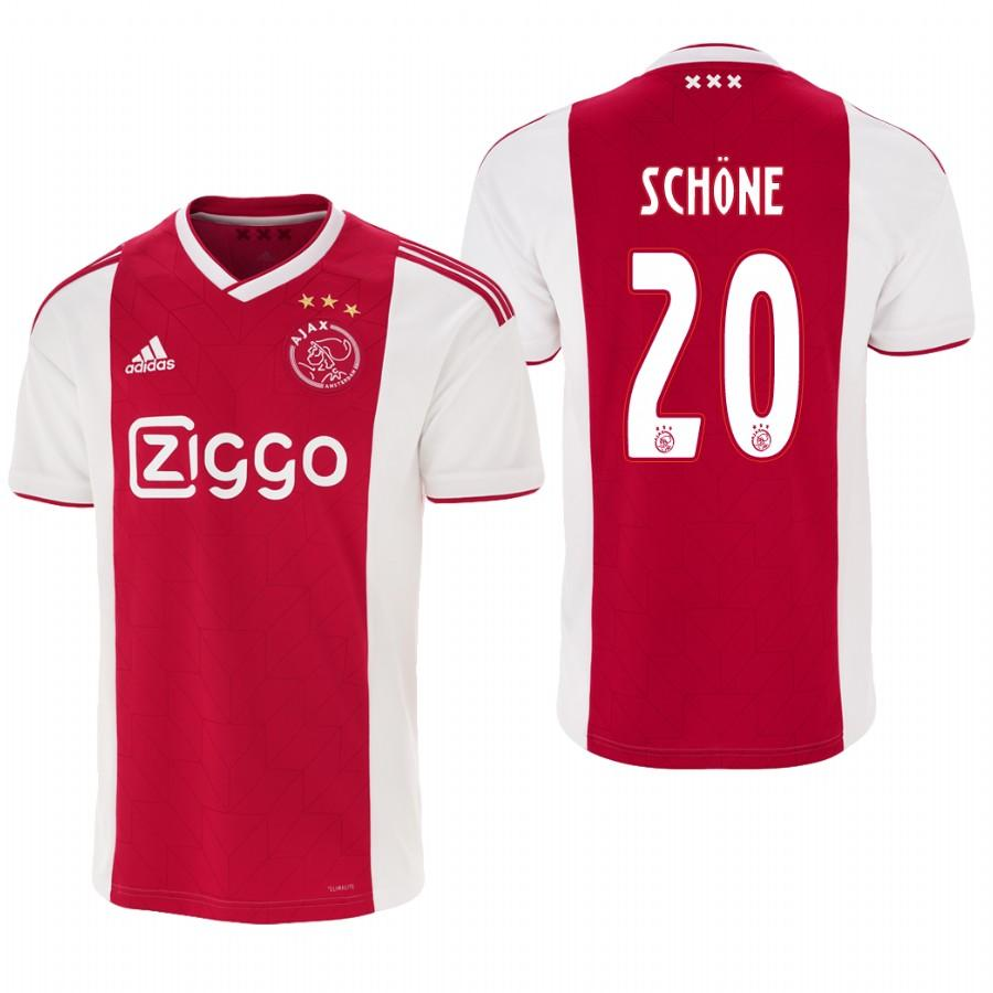 Ajax 18-19 Red White Lasse Schone #20 Mens Home Jersey - S