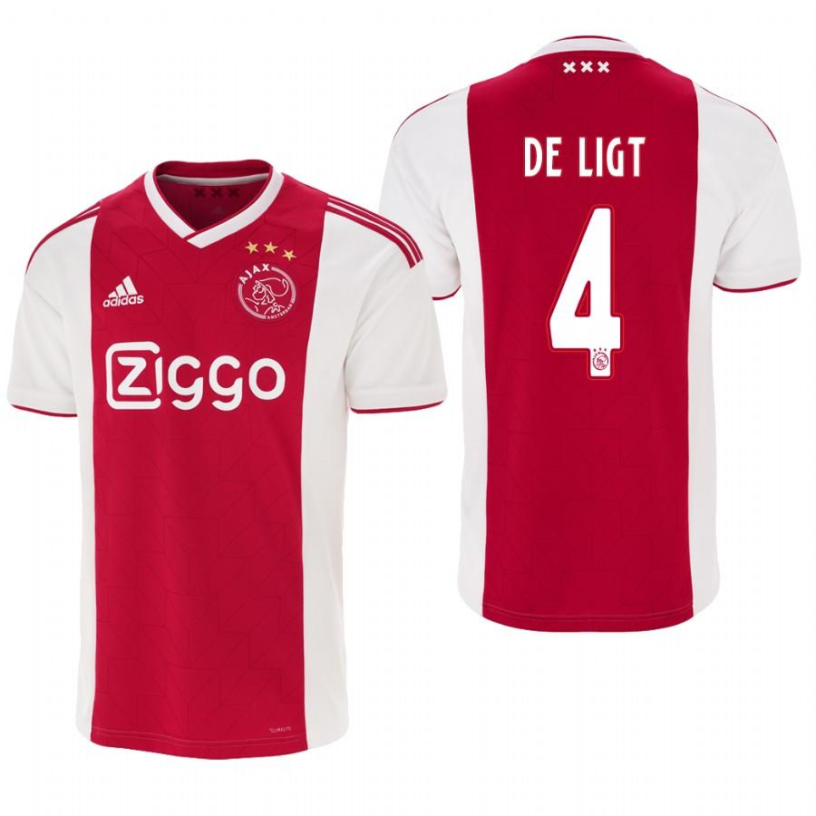 Ajax 18-19 Red White Matthijs de Ligt #4 Home Mens Jersey - S