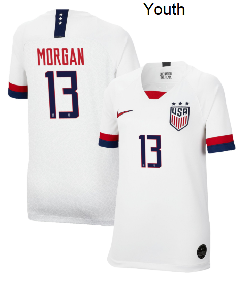 Alex Morgan USWNT Youth 2019 Home Replica Stadium Player Soccer Jersey White - XXS