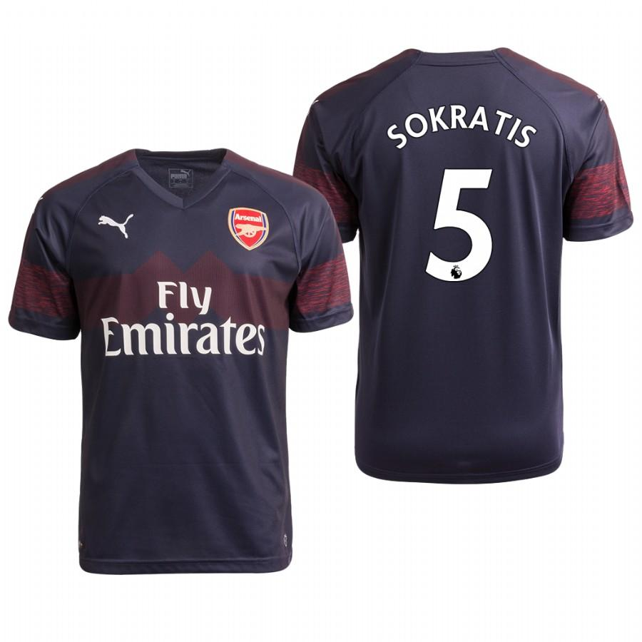 Arsenal 18/19 Navy Sokratis Papastathopoulos #5 Away Youth Jersey - XXS