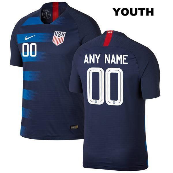 Away Custom Soccer Jerseys Name and Number 2018-2019 Youth Kids Uniforms Shirts Navy USWNT Vapor Match - XXS