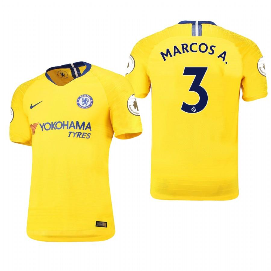 Chelsea 18-19 Yellow Marcos Alonso #3 Away Jersey Mens - S