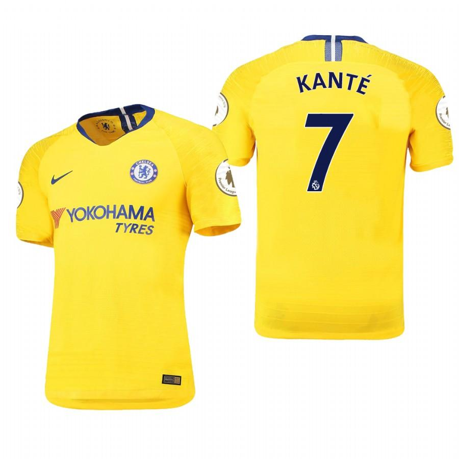 Chelsea 18-19 Yellow NGolo Kante #7 Away Jersey Mens - S