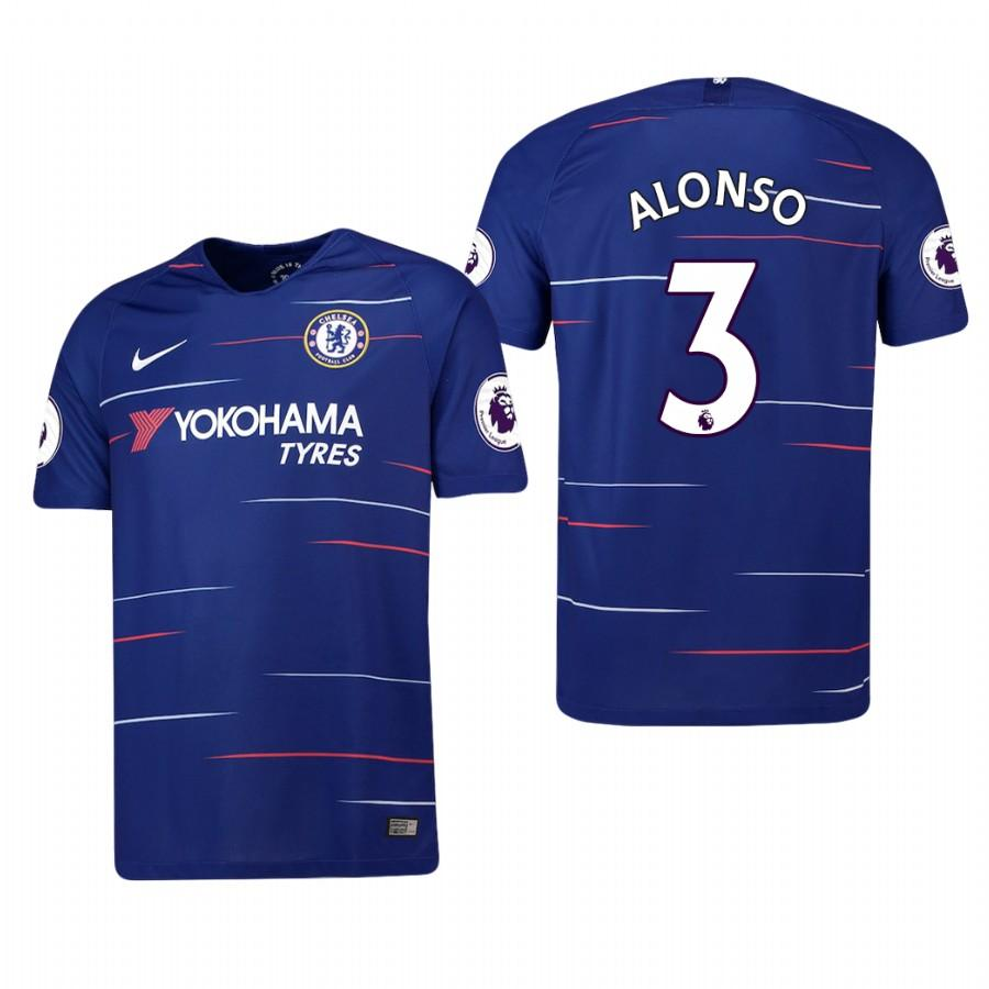Chelsea 2018-19 Blue Marcos Alonso #3 Home Jersey Mens - S