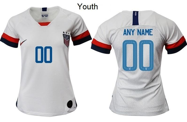 Custom Soccer Jerseys Name and Number 2019-2020 Youth White USWNT Home New Season Uniforms Shirts - XXS