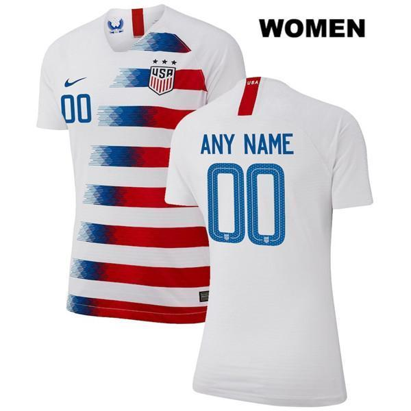 Custom Soccer Jerseys Name and Number Home Women White 2018-2019 USWNT Vapor Match Uniforms Shirts - S