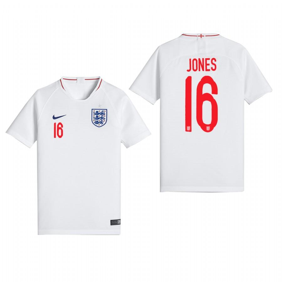 England 2018 World Cup White Phil Jones Jersey Youth 2018 WORLD CUP - XXS
