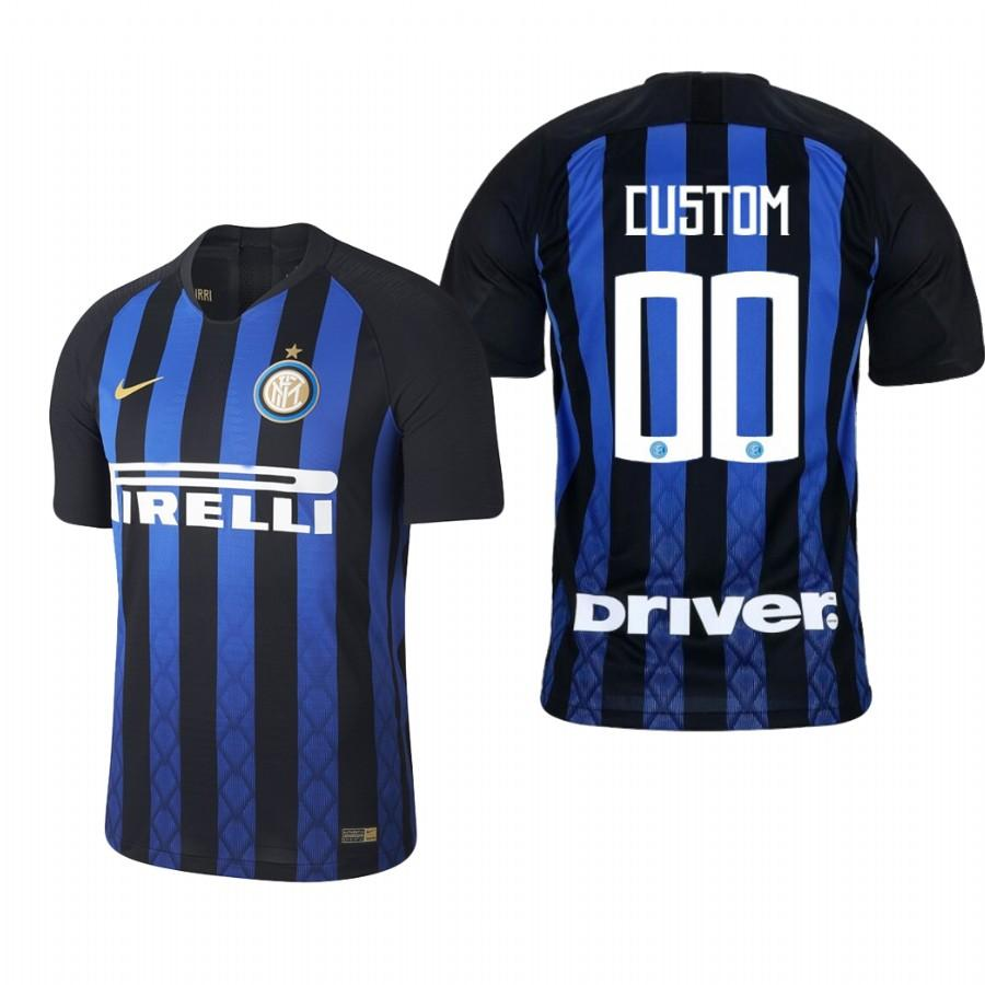 Internazionale Milano Custom 18-19 Blue Black Home Jersey Mens - S