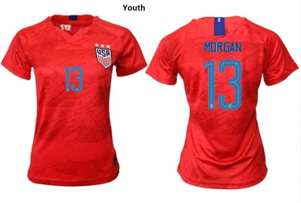Kid/Youth Alex Morgan #13 2019-2020 USA National Team Away Soccer Jersey Red - XXS