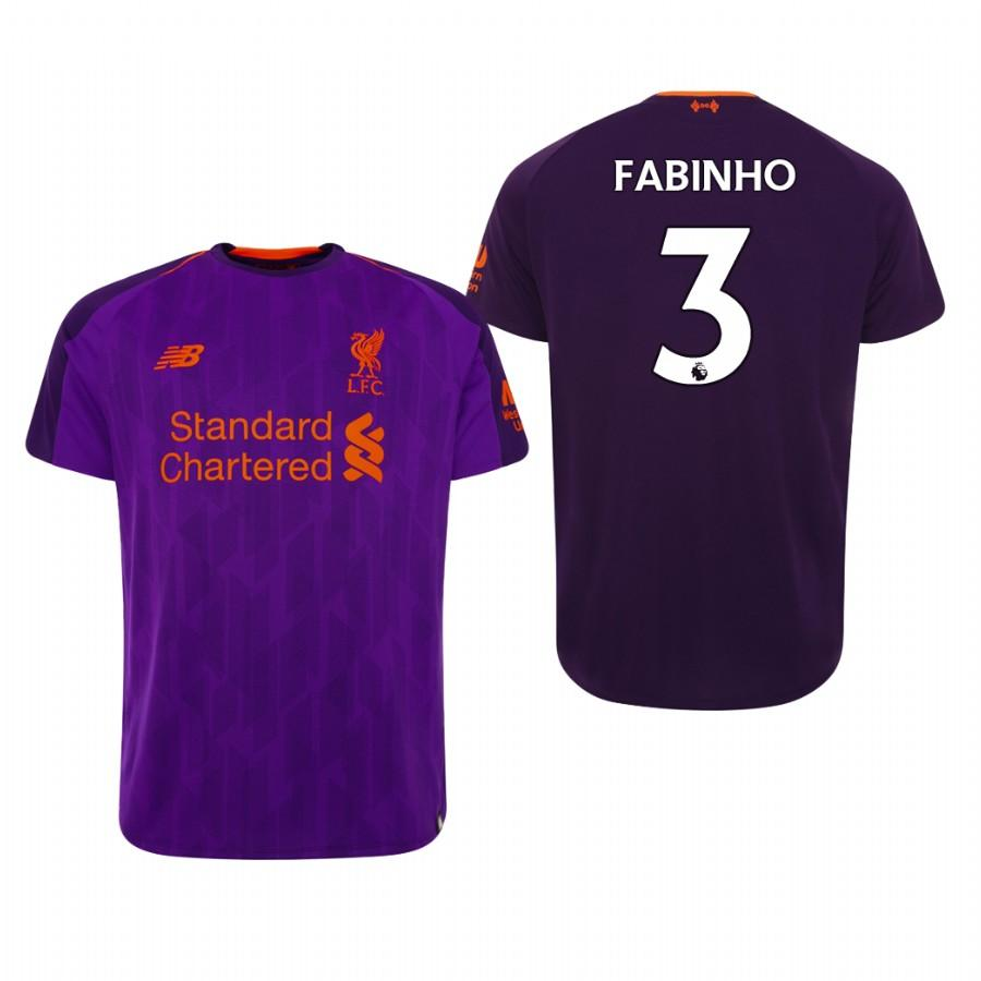Liverpool 18-19 Purple Fabinho #3 Official Away Mens Jersey - S
