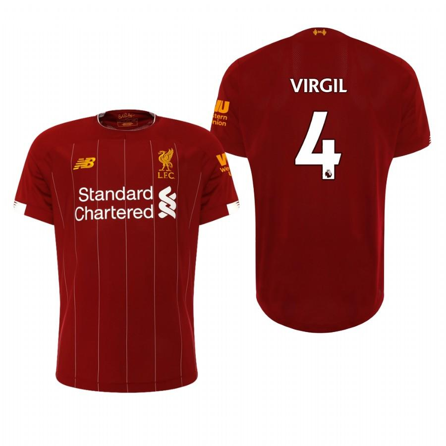 Liverpool 19-20 Virgil van Dijk #4 Official Red Home Mens Jersey - S