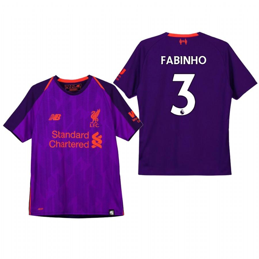 Liverpool Youth 18-19 Purple Fabinho #3 Away Jersey - XXS