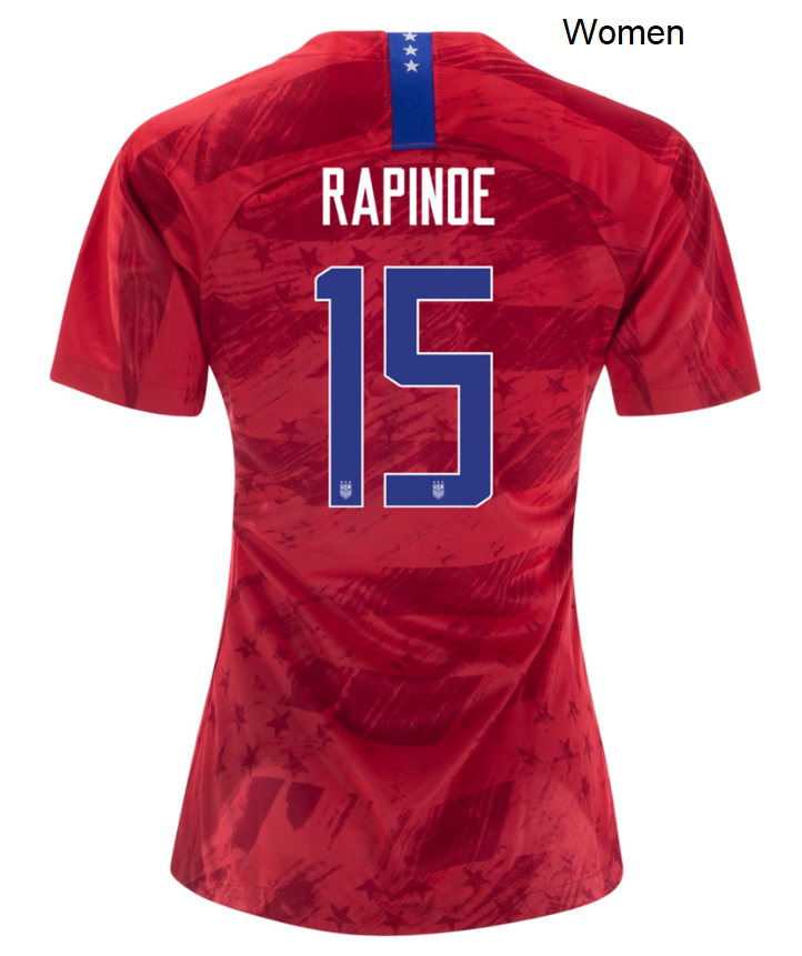 Megan Rapinoe USWNT Away Womens USA Team Soccer Jersey 2019/2020 Uniforms Shirts Red - S