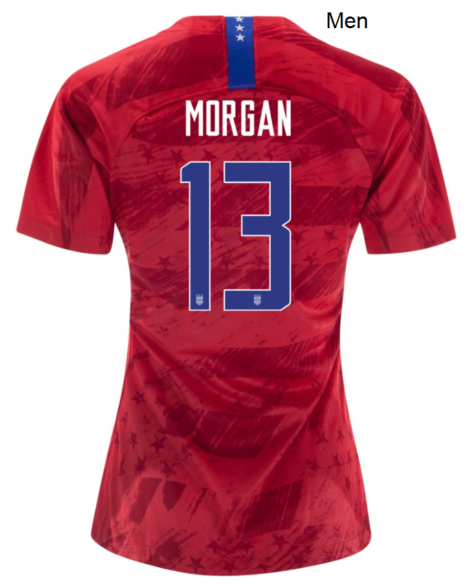 Men Alex Morgan USWNT Away Red USA Soccer Jersey Uniforms Shirts 2019/2020 - S