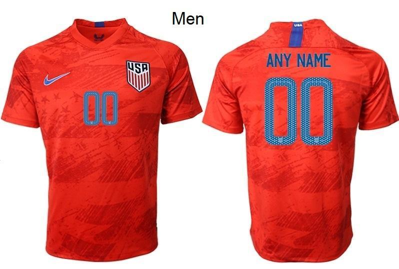 Men Custom Soccer Jerseys Name and Number Red Away USWNT 2019/2020 Uniforms Shirts - S