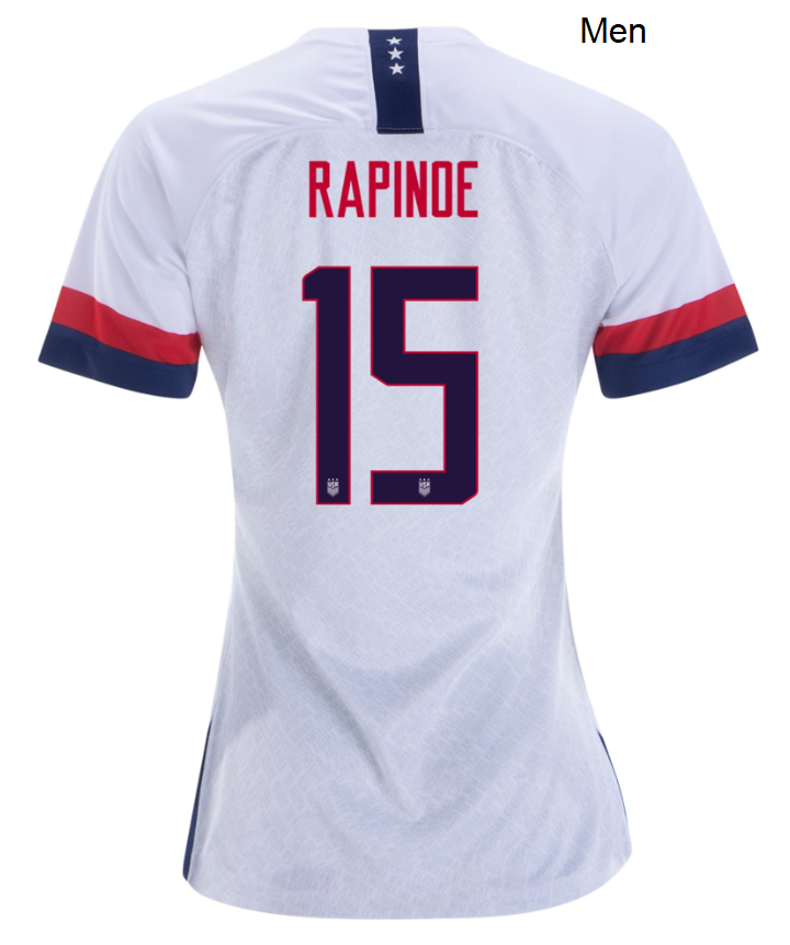 Men Megan Rapinoe USWNT Home White USA Soccer Jersey Uniforms Shirts 2019/2020 - S