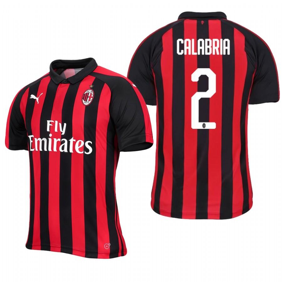 Mens AC Milan 18-19 Red Black Davide Calabria #2 Home Jersey - S