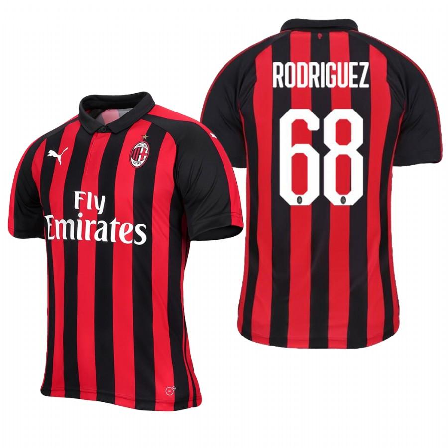 Mens AC Milan 18-19 Red Black Ricardo Rodriguez #68 Home Jersey - S