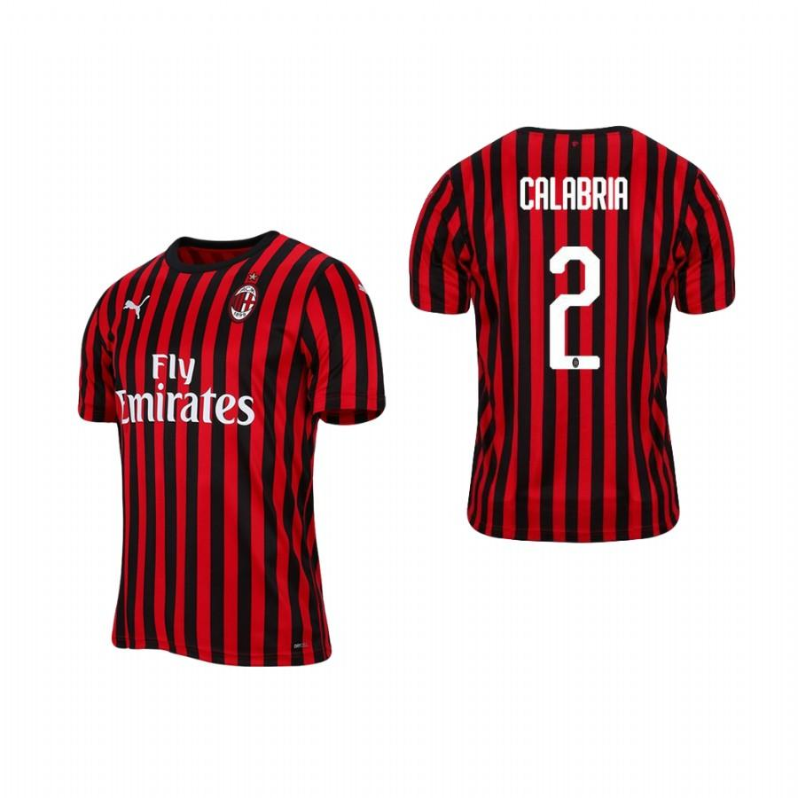 Mens AC Milan 19-20 Davide Calabria #2 Home Jersey - Red Black - S