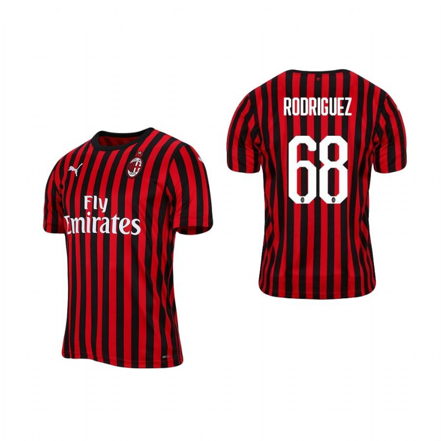 Mens AC Milan 19-20 Ricardo Rodriguez #68 Home Jersey - Red Black - S