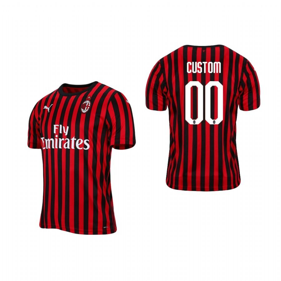 Mens AC Milan Custom 19-20 Home Jersey - Red Black - S