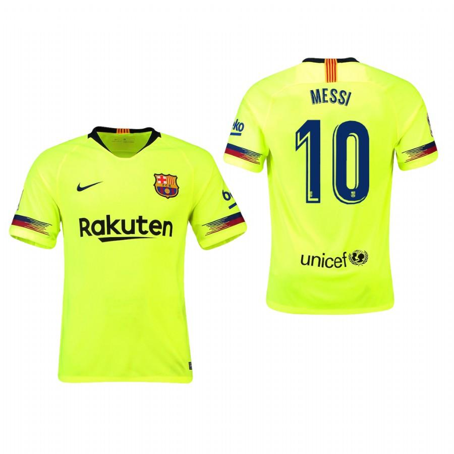 Mens Barcelona 18-19 Yellow Lionel Messi #10 Away Jersey - S