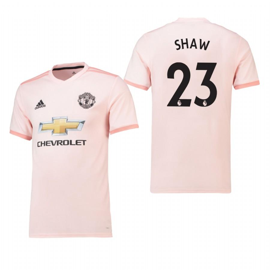 Mens Manchester United 18-19 Pink Luke Shaw #23 Away Jersey - S