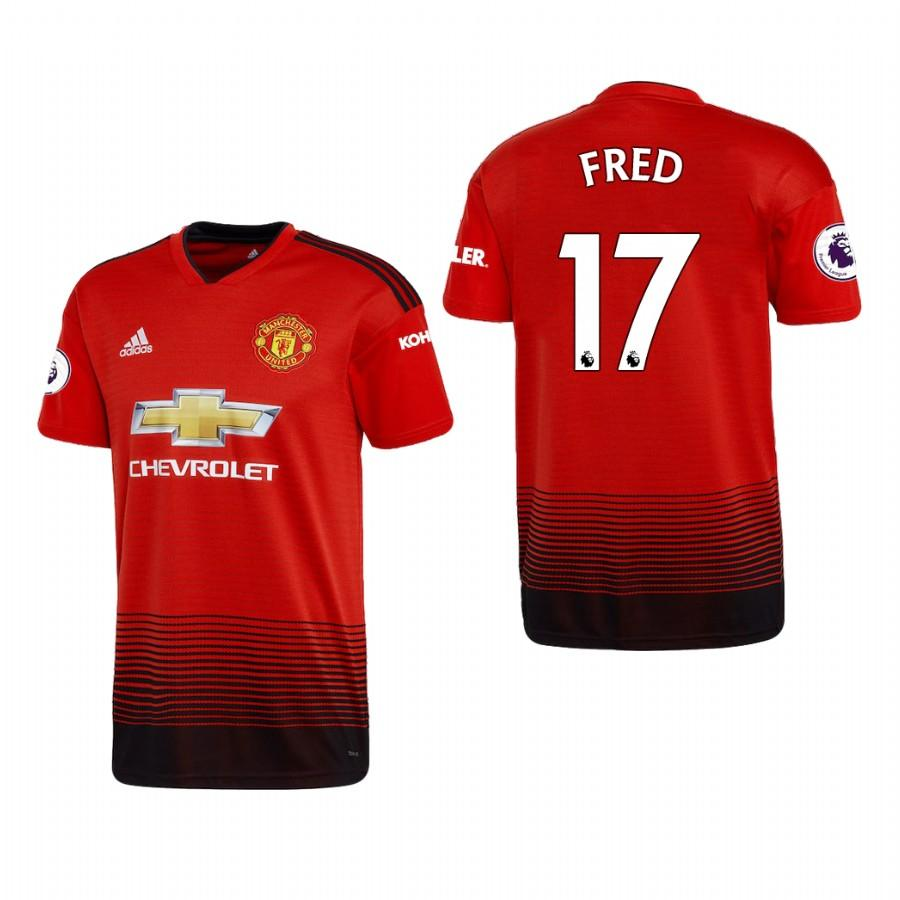 Mens Manchester United 18-19 Red Fred #17 Home Jersey - S