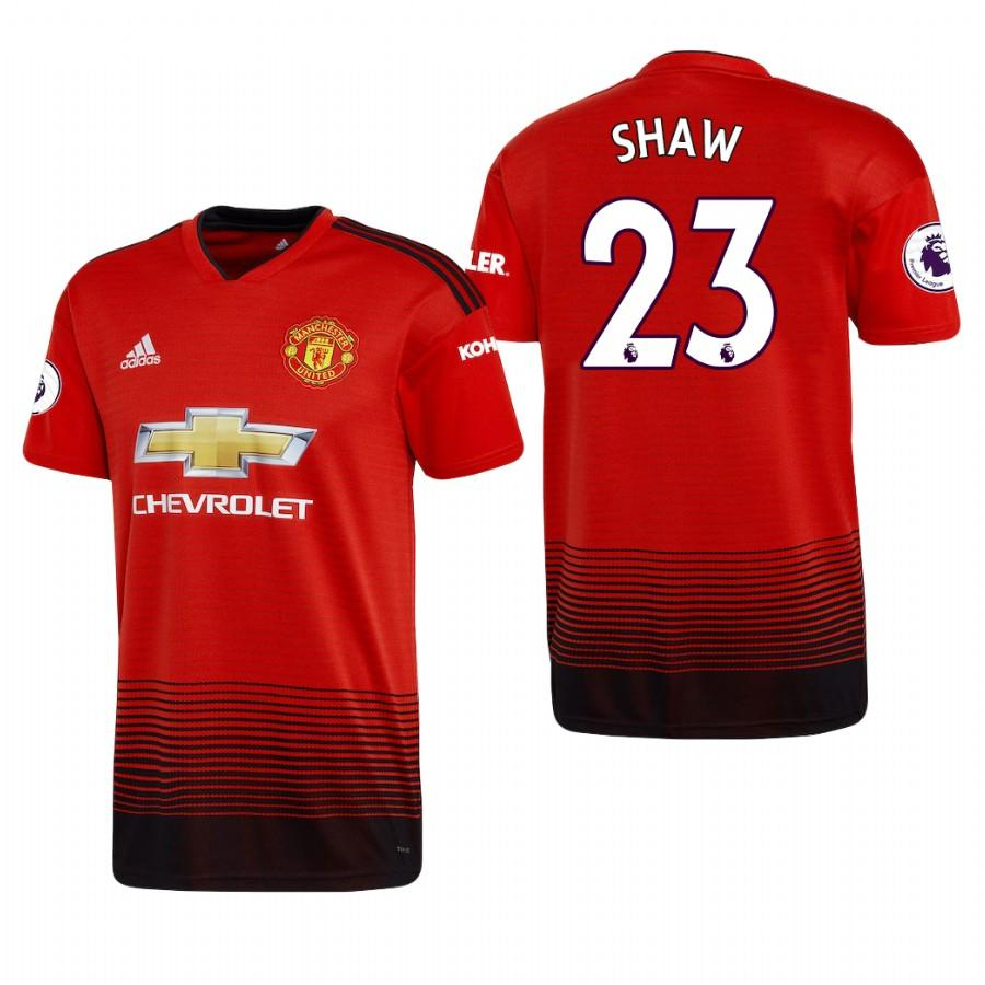 Mens Manchester United 18-19 Red Luke Shaw #23 Home Jersey - S