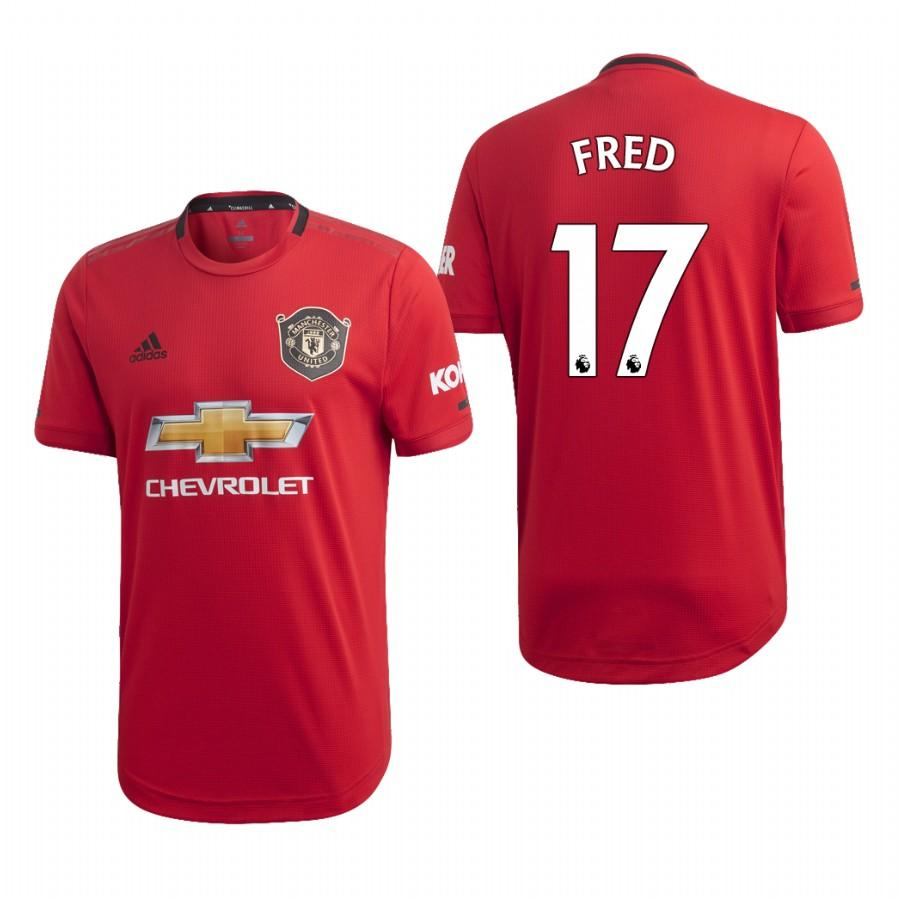 Mens Manchester United 19-20 Fred #17 Home Jersey - Red - S