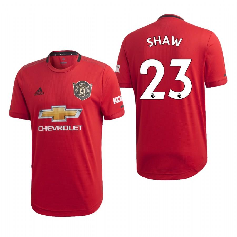 Mens Manchester United 19-20 Luke Shaw #23 Home Jersey - Red - S