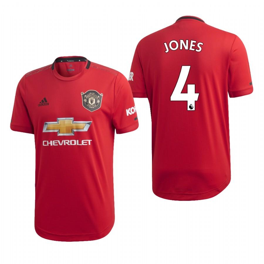 Mens Manchester United 19-20 Phil Jones #4 Home Jersey - Red - S