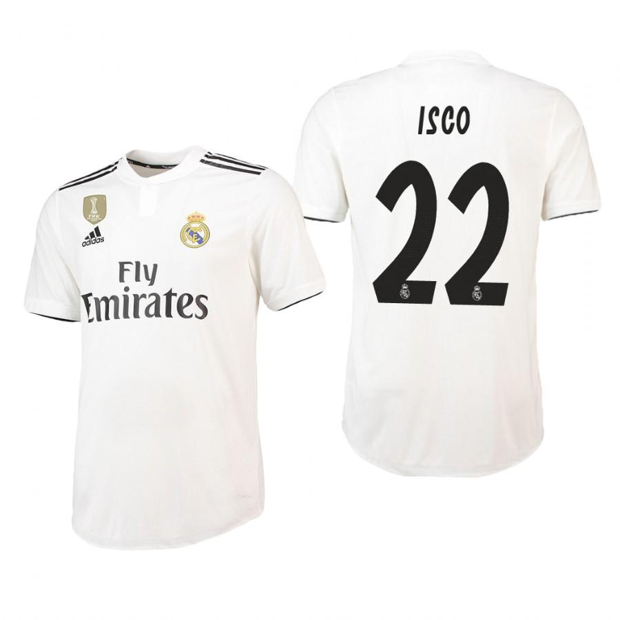 Real Madrid 18-19 White Isco #22 Home Jersey Mens - S