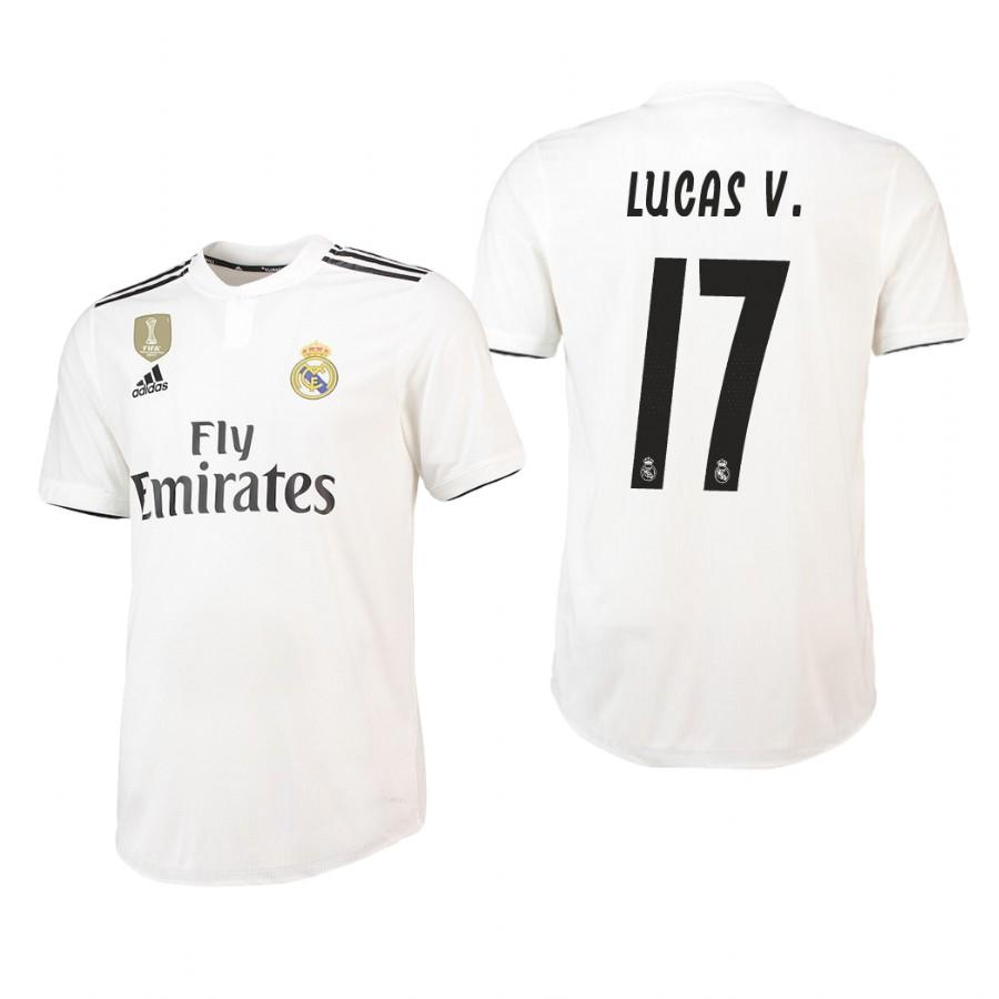Real Madrid 18-19 White Lucas Vazquez #17 Home Jersey Mens - S