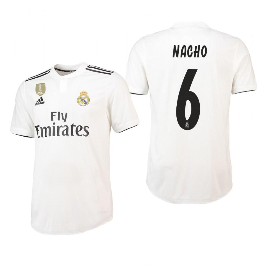 Real Madrid 18-19 White Nacho #6 Home Jersey Mens - S