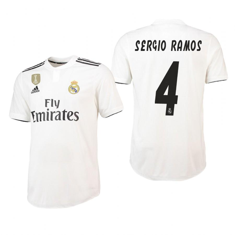 Real Madrid 18-19 White Sergio Ramos #4 Home Jersey Mens - S