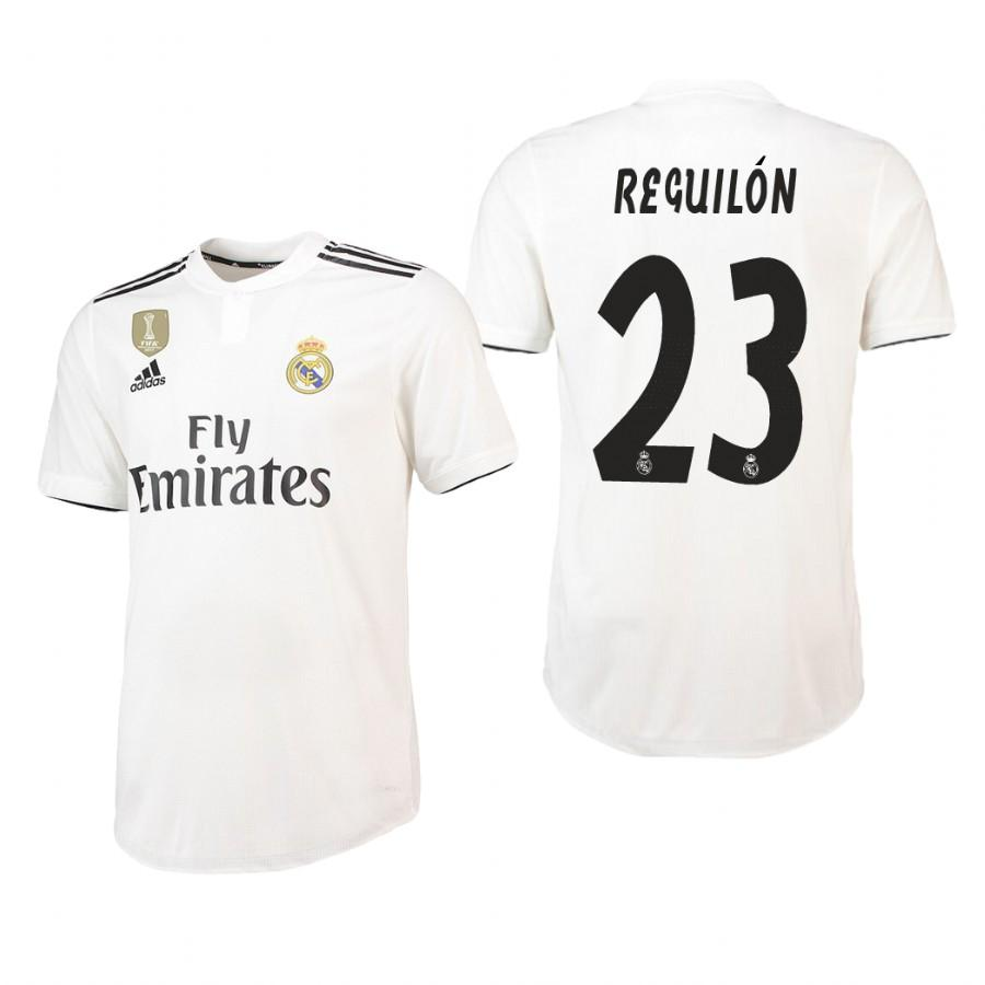 Real Madrid 18-19 White Sergio Reguilon #23 Jersey Mens - S