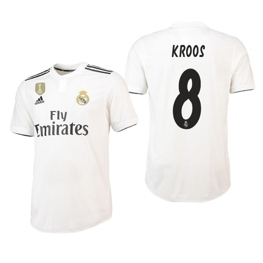 Real Madrid 18-19 White Toni Kroos #8 Home Jersey Mens - S
