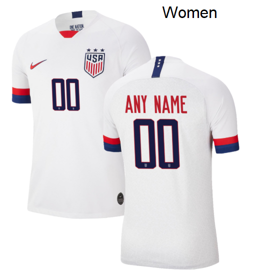 Women USWNT 2019 Home Replica Stadium Custom Name and Number USA Soccer Jersey White - S