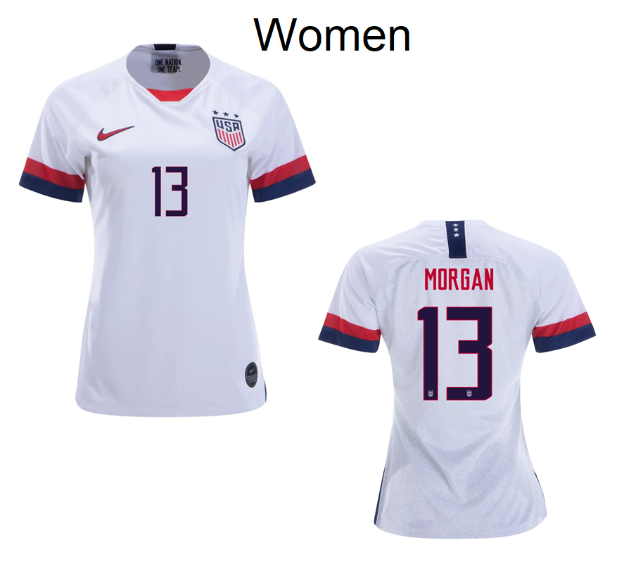 Women World Cup 2019 Alex Morgan 13 USA Home White Jersey Soccer Uniforms Shirts - S