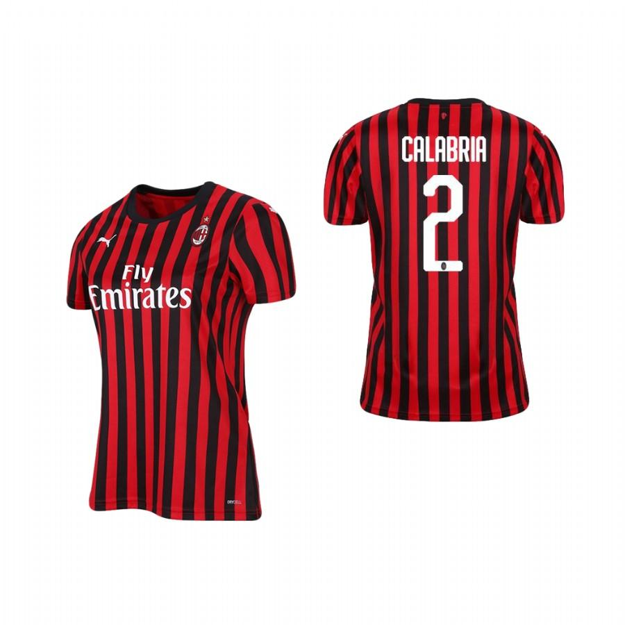Womens AC Milan 19-20 Davide Calabria #2 Home Jersey - Red Black - S