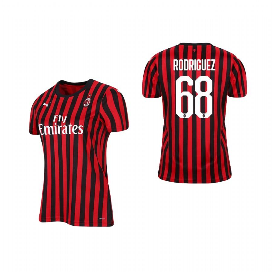 Womens AC Milan 19-20 Ricardo Rodriguez #68 Home Jersey - Red Black - S