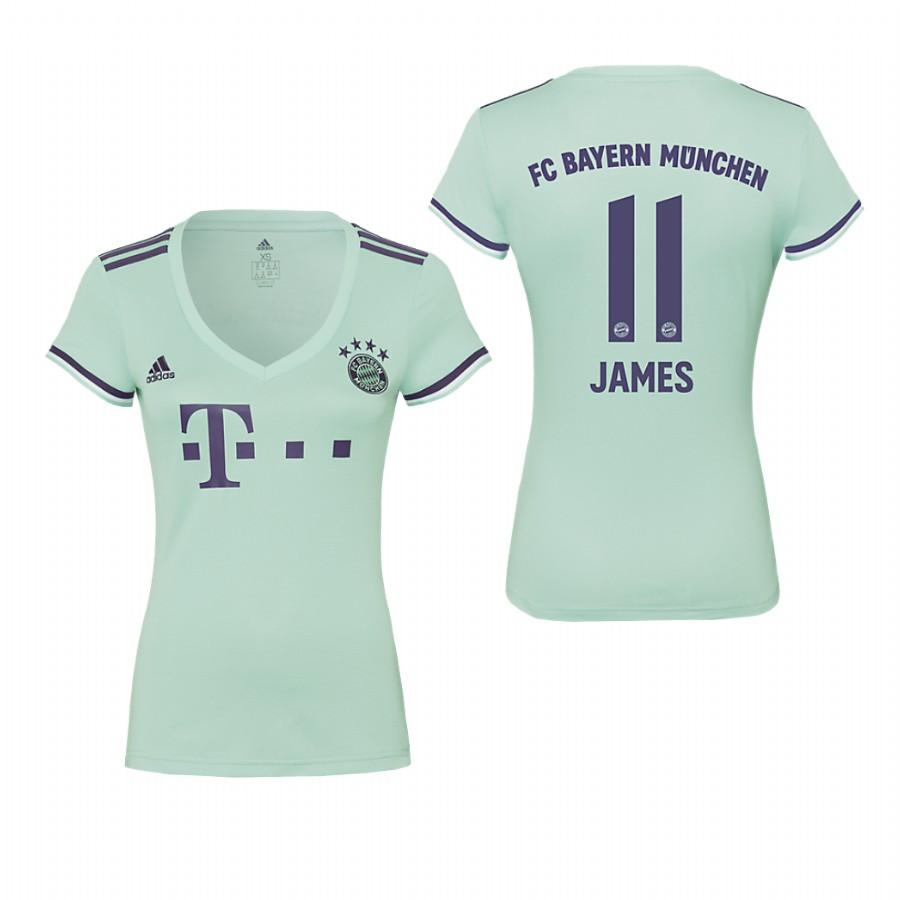 Womens Bayern Munich 18-19 Ash Green James Rodriguez #11 Away Jersey - S