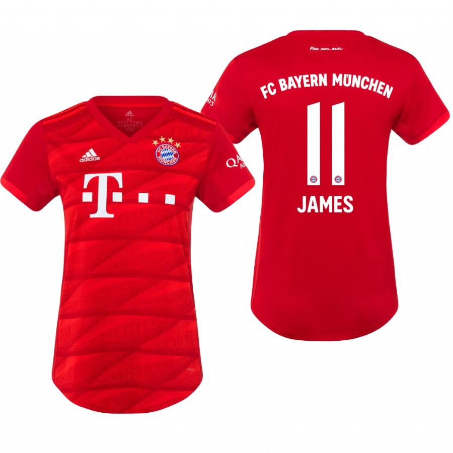 Womens Bayern Munich 19-20 James Rodriguez #11 Home Jersey - Red - S
