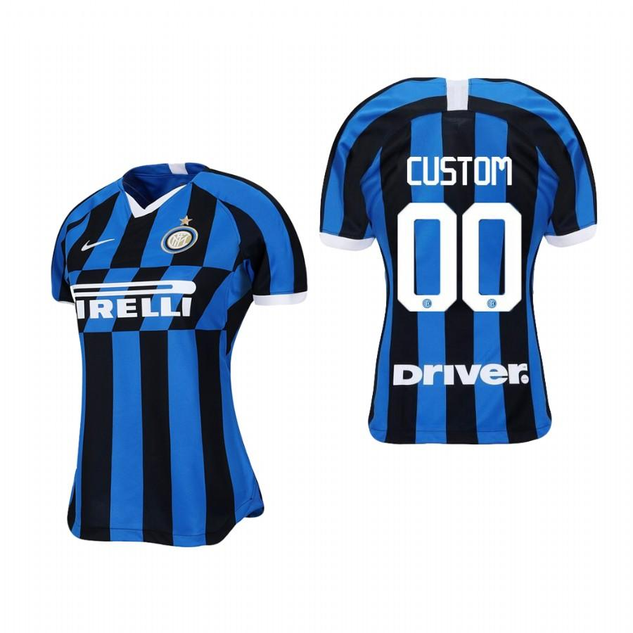 Womens Internazionale Milano Custom 19-20 Home Jersey - Blue Black - S