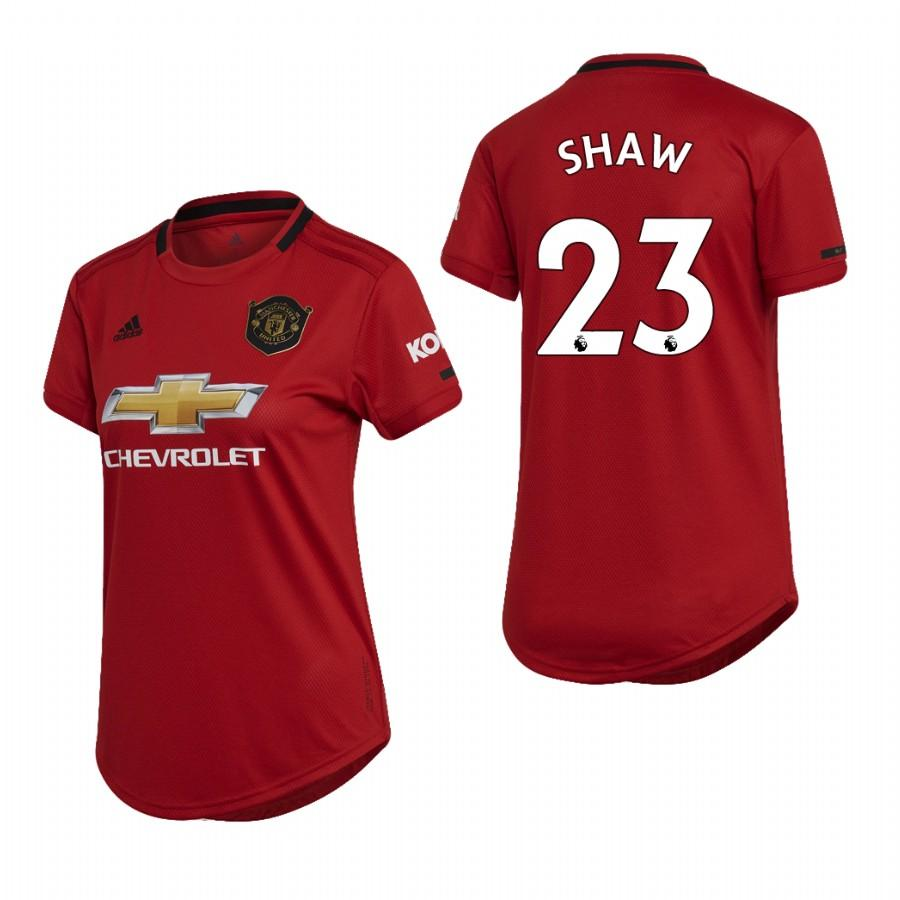 Womens Manchester United 19-20 Luke Shaw #23 Home Jersey - Red - S